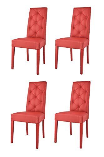 Tommychairs - Set 4 sillas Chantal para Cocina, Comedor, Bar y Restaurante, solida Estructura en Madera de Haya y Asiento tapizado en Polipiel roja
