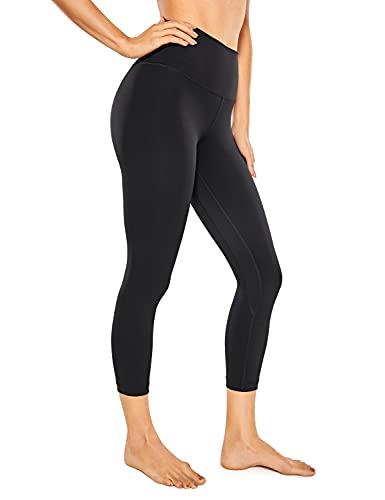 CRZ YOGA Mujer Deportivos Leggings Mallas Fitness Pantalones de Cintura Alta -53cm Negro-R418A 46