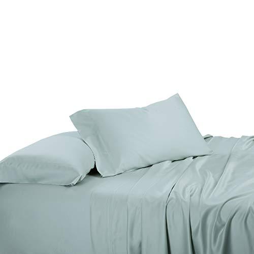Abripedic Solid 600TC Bamboo Viscose, 5PC Dual King Sheets Set for Adjustable Beds, Sea