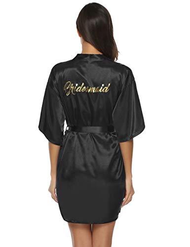 Aiboria Albornoz Satén para Mujer, Kimono Bata para Novia Dama de Honor Satén Mujer Ropa de Dormir Cortos