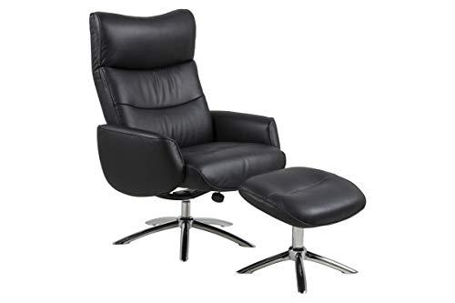 AC Design Furniture Wilhelm Armchair, Leather, Black, L: 89 x W: 77 x H: 109 cm