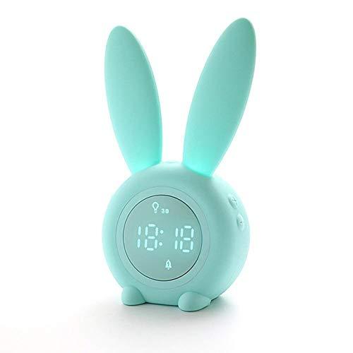 Reloj despertador para niños, luces de noche para niños, tonos de timbre, control táctil y repetición con reloj despertador recargable para niños, 3