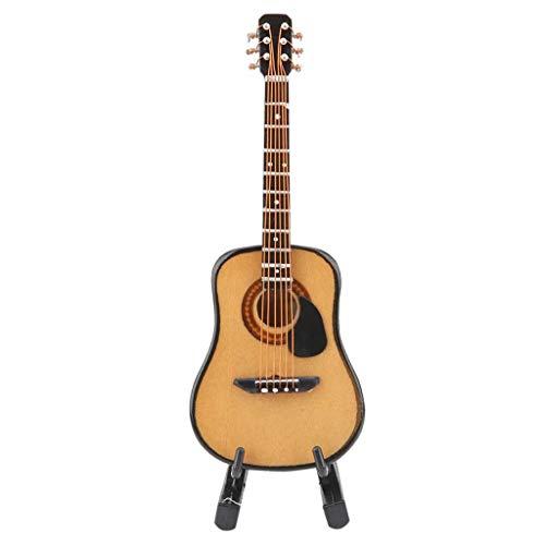 YSMLL 10/16 cm Modelo de Guitarra eléctrica de Madera con Soporte de exhibición Muñecas Casa Miniatura Instrumentos Musicales Juguetes (Size : Large)