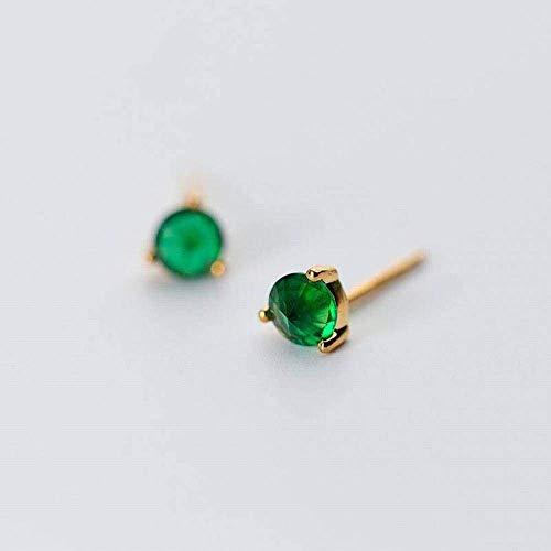 E-H Stijlvolle Eenvoud S925 Zilveren Oorbellen Vrouwelijke Mini Compacte Diamant Synthetische Grootmoeder Groen Eenvoudige ronde Enkele Diamanten Oorbellen, Goud