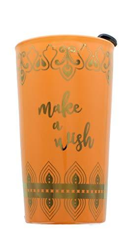 Disney Aladdin Ceramic Travel Coffee Mug Tumbler - Make A Wish and Genie Lamp Arabian Designs - 16 oz