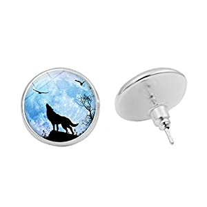 Inecklaced Women Glass Earrings, Roaring Wolf Bird Moonstone Ear Pins European Fashion Round Animal Picture Copper Ear Hook, Party Gift Hypoallergenic Pierced Ear Bone Stud Jewelry Accessory