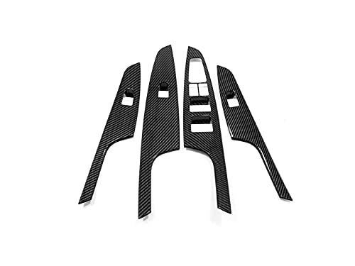 Ajuste para Hyundai Tucson 2015 – 2019 2020 fibra de carbono ventana botón interruptor cubierta Trim puerta apoyabrazos panel marco coche accesorios (agujero normal)