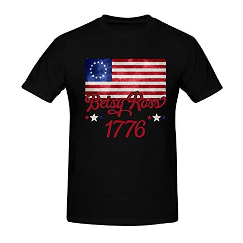 Mens Betsy 1776 Ross Flag Cotton T Shirt Short Sleeve Crewneck Shirt Graphic Summer Tees Funny Tops Black