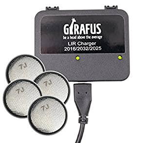 Cargador de Batería para Pila Botón Recargable LIR 2032/2016 / 2025 – 4 Baterías LIR2032 3.7V Incluidas - Universal: Apto para Cualquier USB - por GIRAFUS