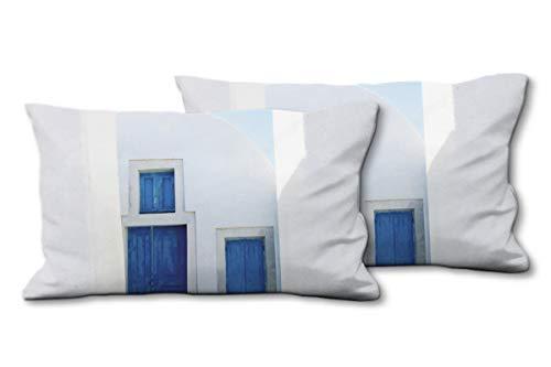 Glückvilla - Juego de 2 cojines de fotos (80 x 40 cm), diseño de cojín de calidad premium, color blanco y azul