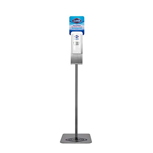 Clorox Commercial Solutions Hand Sanitizer Gel Dispenser & Floor Stand   1000mL Hand Sanitizer Gel, Bleach-Free Gel Hand Sanitizer Kills More Than 99.999% of Germs   for Office & Commercial Use