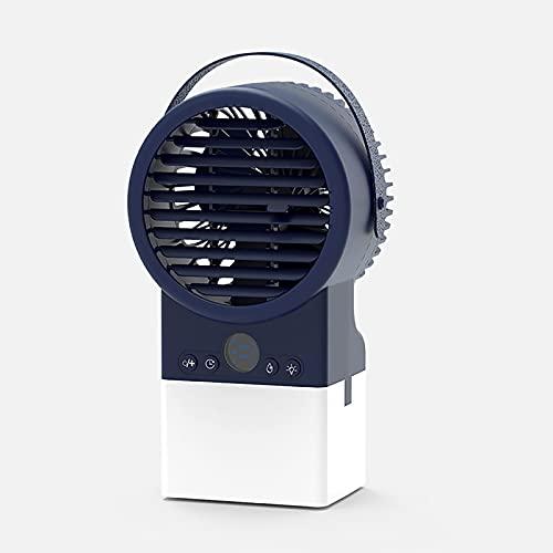 HALIGHT Ventilador Aire Acondicionado portátil, Mini Ventilador Escritorio Personal, humidificador purificador Aire con 3 velocidades Viento y Luces nocturnas, para el hogar, la Oficina