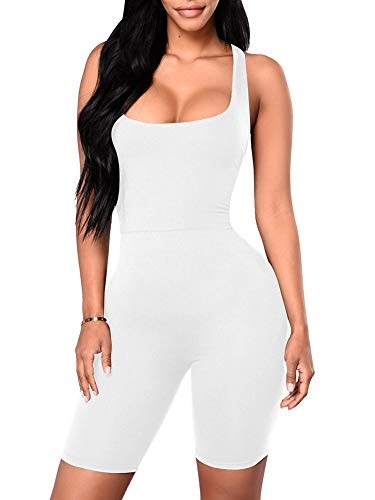 YMDUCH Women's Sexy One Piece Tank Top Backless Bodycon Club Short Jumpsuit White2