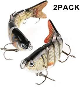 Vin-Sping Aparejos de Pesca Aparejos de Pesca, Ojos 3D, Aparejos de Pesca 6 Gancho de Anclaje de Acero de Alto Carbono, Cebo de Pesca Artificial de múltiples articulaciones Realista, Cebo Duro