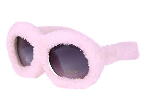 Alsino Plüschbrille Sonnenbrille mit Fell Rosa für Erwachsene Partybrille Apres-Ski Fasching Fellbrille F-040