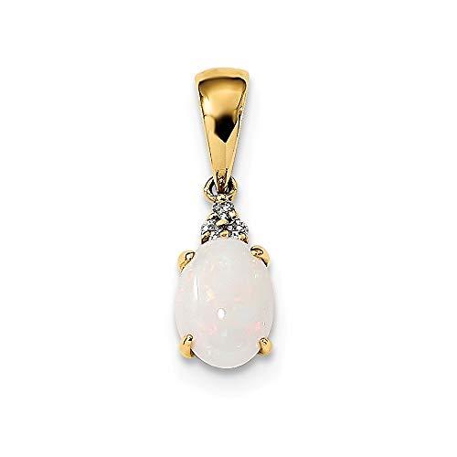 Halskette mit Anhänger, 14 Karat Gold, mit österreichischem Opal und Diamanten, Schmuck für Damen