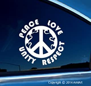 AmiArt Plur Decal - Peace-Love-Unity-Respect- Heart- I-Love-Raves- EDM- Bumper Sticker Decal.