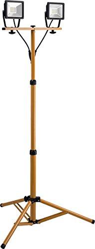 Goobay LED Baustrahler Zwei Flutlichstrahler auf Teleskopstativ, Zink, 20 W, Schwarz/Gelb, 2x 20W