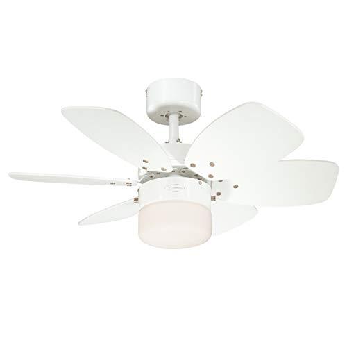 Westinghouse Lighting Deckenventilator, E27, Ausführung in Weiß mit Wendeflügeln in hellem Ahorn/weiß