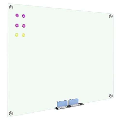 WELMORS OFFICE Magnetic Glass Whiteboard, Wall Mount Dry Erase White Boards with 6 High Powered Magnets, 2 Erasers (48x36)
