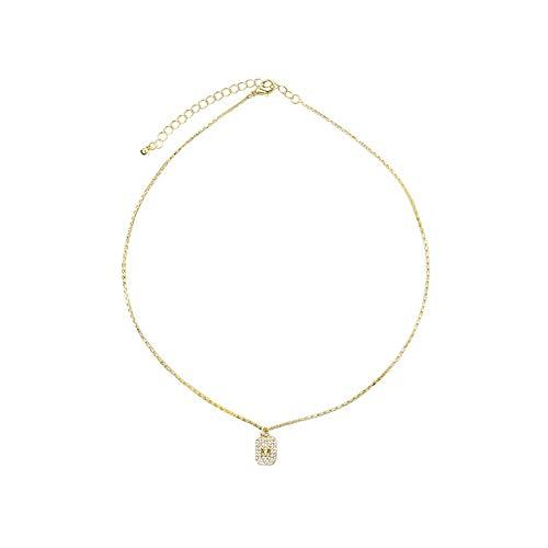 Varitystore Collar Mujer Simple Temperamento Salvaje Moda Cuadrado Zircon Letra Collar Clavícula Cadena Collar