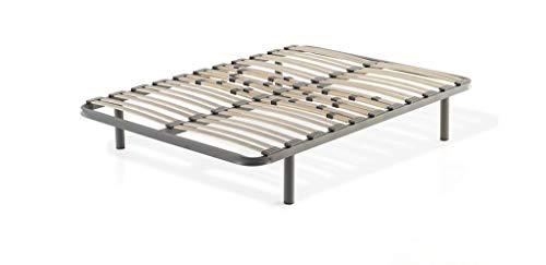 CLOEN Somier Multiláminas Premium con Patas Metálicas Redondas. Tacos Anti-Ruidos. Resistente y Transpirable. Regulador de Peso y Protección Lumbar (160 x 190 cm)