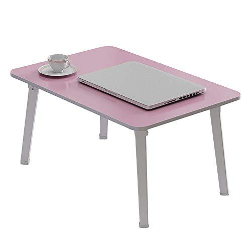 LVZAIXI Petit lit Table Ordinateur Portable Table Plateau De Service Petit-déjeuner Lazy Clip Portable Multifonction Pliable, 4 Couleurs, 60x40x29cm (Couleur : Pink)