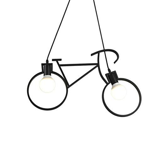 Lámpara de techo de estilo de dibujos animados niños lámpara de araña de bicicleta de hierro negro creativo diseño arte restaurante lámpara de techo dormitorio techo 58X38cm, E27x2, sin fuente de luz