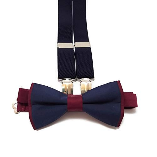 BURGUNDY+NAVY BLUE cotton bow tie for and NAVY Sales of SALE items from new works suspenders Max 53% OFF g