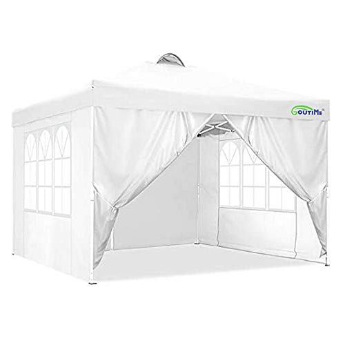 Goutime ez Pop Up Canopy Instant Shelter Tents for Outdoor Commercial Party (10x10, White with sidewalls)