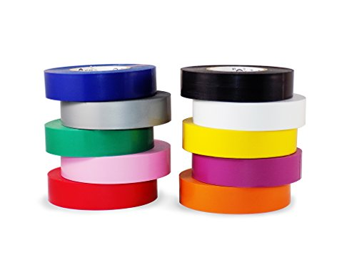 T.R.U. EL-766AW Rainbow Pack General Purpose Electrical Tape 3/4' (W) x 66' (L) UL/CSA listed core. Utility Vinyl Synthetic Rubber Electrical Tape (10 Pack) - Suitable for Use At No More Than 600V