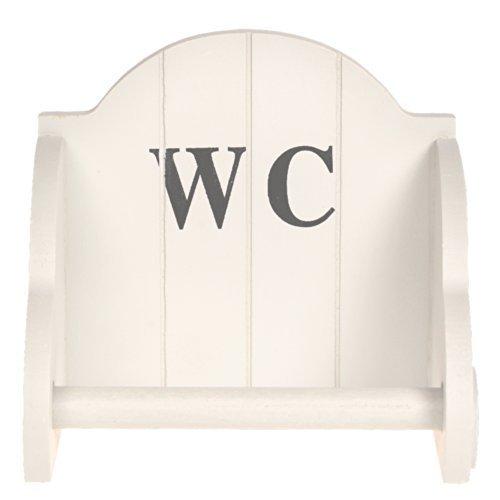 2 Farben WC Toiletten Halterung Papierrollenhalter Holz Papierhalter Rollenhalte (Weiß)