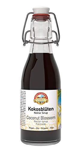 Biologischer Fairtrade Kokosblütensirup 200ml Bio, wiederverschließbare Glasflasche, Zucker Alternative, natürlicher Süßstoff hergestellt per Hand aus dem edelsten Kokosblüten Nektar