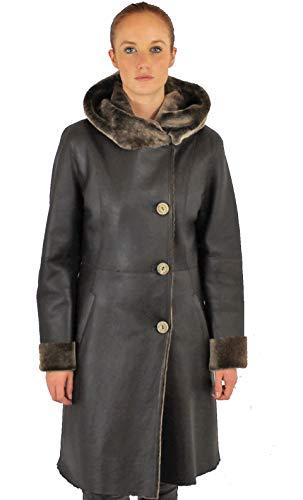 Giorgio - Cappotto con cappuccio in pelle di lana, agnello Connie marrone scuro XXL