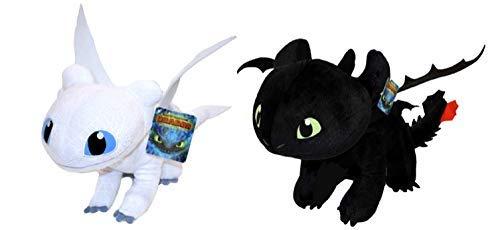 HTTYD Drachenzähmen leicht gemacht - Dragons - Pack 2 Plüsch Light Fury weiße + Ohnezahn Toothless schwarz - Qualiät super Soft 11'80