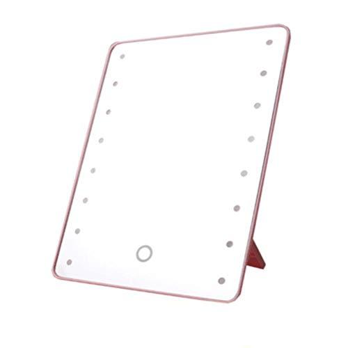 Make-upspiegel met 16 leds Cosmetische spiegel met aanraakdimmer Schakelaar op batterijen voor tafelblad Badkamer Reizen nieuw, roze
