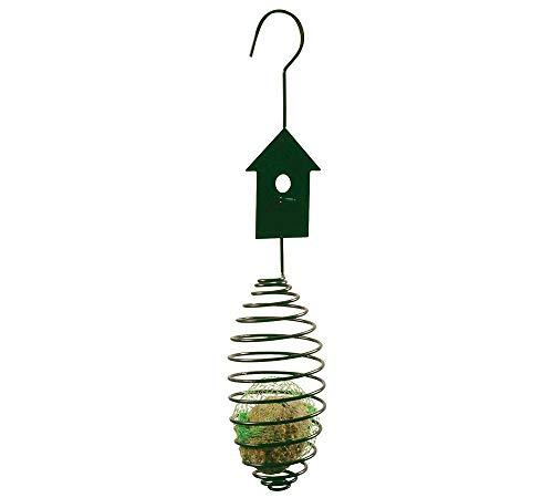 Esschert Design Futterfeder für Meisenknödel Vogelfutter-Spirale für Futterbälle Vogelhaus-Optik Metall Grün