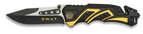 ALBAINOX 19595. Messer SWAT gelbe farbe. Aluminiumgriff. Edelstahlblech Blatt: 9 cm. Inklusive Sicherheitsgurtschneider, Glasbrecher und Nylonabdeckung