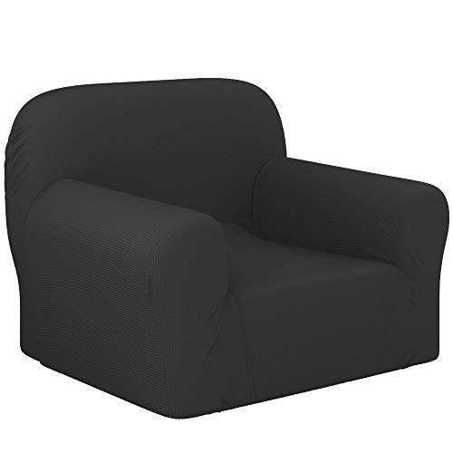 Dreamzie - Sofabezug 1 Sitzer Elastische - Grau - Oeko-TEX® - Sofa Überzug 60{c91d616e6d0da14ac7cfc42ac18c020ca74dde9304e3f0d26ed9caf9ca64dfd7} Recycelter Baumwolle - Made in Europe