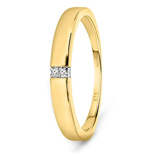 Miore Anillo de compromiso de diamante de 0,02 quilates con 4 diamantes brillantes de oro amarillo de 9 quilates/375