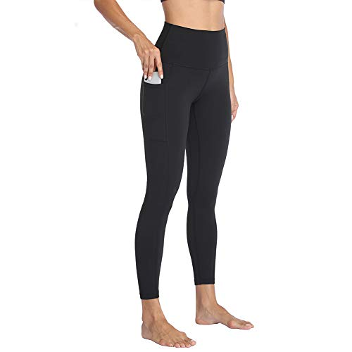 HIGHDAYS High Waisted Yoga Pants with Pockets for Women - Soft Tummy Control Stretchy Workout Leggings Black