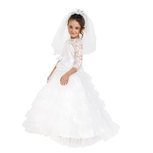 Dress-Up-America Bride Costume – Dreamy Bridal Dress With Wedding Veil For Girls
