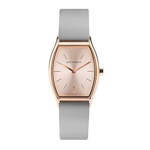 PAUL HEWITT Armbanduhr Damen Modern Edge Line Rose Sunray - Damen Uhr (Rosegold), Damenuhr mit Lederarmband (Graphite), rosa Ziffernblatt