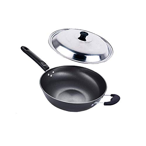 Xjjzs Estufa del hierro del pote sin recubrimiento Salud Wok antiadherente Pan de gas cocina de inducción universal