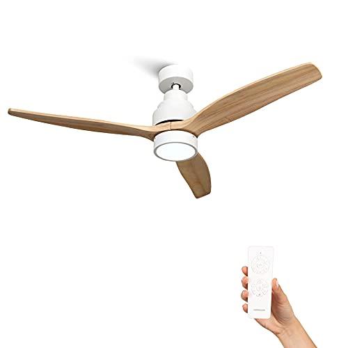 Mellerware - Ventilador de Techo con Mando a Distancia Brizy Bright | 45 W | 6 Velocidades | Ultra silencioso | 3 Aspas 132 de Diámetro | Función Verano-Invierno | Temporizador | LED | Lightwood