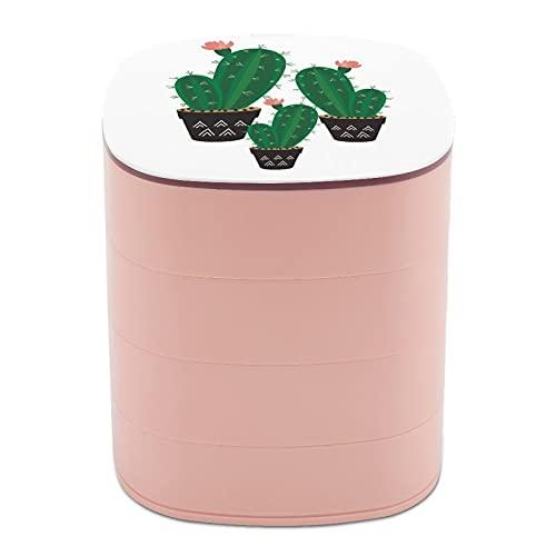 Rotar la caja de joyería con maceta de flores de arte espinoso con espejo, estuches de joyería a granel, soporte de joyería de diseño multicapa para mujeres, niñas y niños