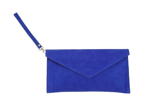 scarlet bag | Umhängetasche aus Wildleder Leder | Damen Handtasche Tasche Henkeltasche; 31,5 x 16,5 x 1,0 cm (blau)