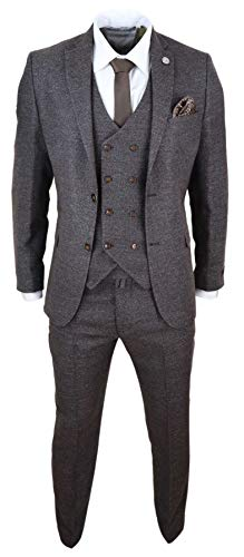 TruClothing.com Herrenanzug 3 Teilig Tweed Design Peaky Blinders 1920 Stil Wollenanteil - braun 56EU/50UK Sakko- 44