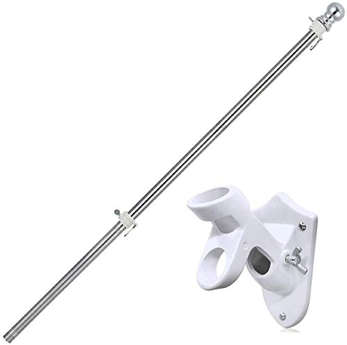 COCONUT 5FT Flag Pole with Bracket Wall Mounting 2 Position -All Weather Flag Display Holder