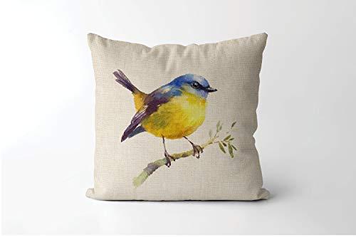 463Opher Aquarell-Kissen, gelbes Rotkehlchen-Kissen, Vogel auf Ast, chinesisches Pinselmalerei, Vogelbeobachter, Geschenk